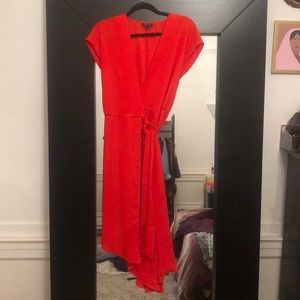 TOPSHOP red midi-length wrap dress